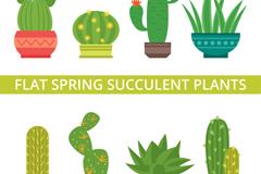 8款绿色春季多肉植物盆栽矢量图