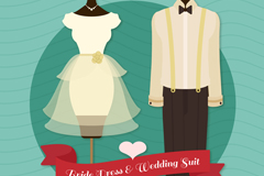 创意婚礼婚纱和西服矢量素材