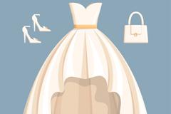 白色婚纱与配饰矢量素材