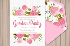 水彩花卉花园派对邀请卡矢量素材