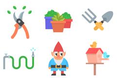 9款卡通花园元素矢量素材
