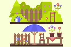 3组卡通花园风景矢量素材