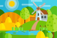 彩色美丽田园风景矢量素材
