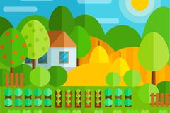 彩色扁平化农场风景矢量素材