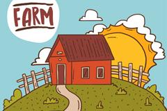 卡通农场房屋和太阳风景矢量素材