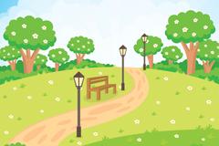 夏季公园小路和长椅风景矢量素材