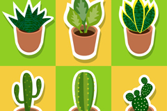 6款绿色多肉植物贴纸矢量素材