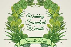 创意多肉植物婚礼花环矢量素材