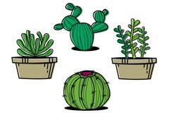 4款卡通多肉植物盆栽矢量素材