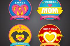 4款彩色母亲节标签矢量素材