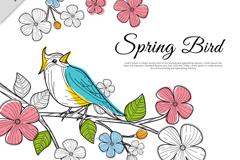 创意春季粉色花枝上的彩色小鸟矢量图
