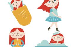 4款卡通女孩日常生活矢量素材