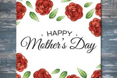 红玫瑰母亲节祝福卡矢量素材