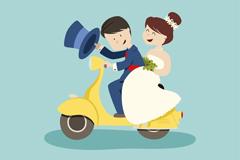 卡通骑电动车的婚礼新人矢量图