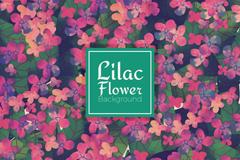 水彩紫丁香花朵无缝背景矢量素材