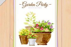 水彩盆栽花园派对邀请卡矢量图