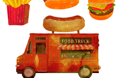水彩绘快餐车和3种快餐矢量素材