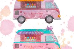 2款粉色系冰淇淋车矢量梦之城娱乐