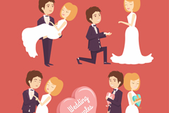 4款幸福婚礼新人矢量素材