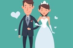 卡通幸福的挽手婚礼新人矢量素材