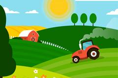 农场工作中的拖拉机风景矢量图