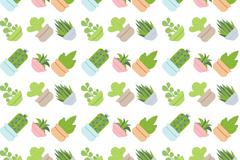 创意多肉植物盆栽无缝背景矢量图