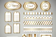 17款金边标签设计矢量素材