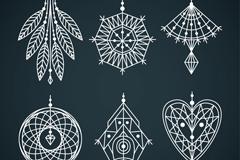 6款白色花纹吊饰设计矢量素材
