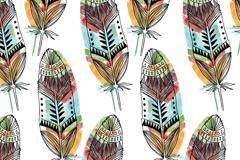 彩绘羽毛无缝背景矢量素材
