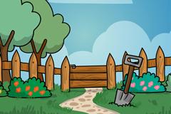 手绘花园栅栏风景设计矢量素材