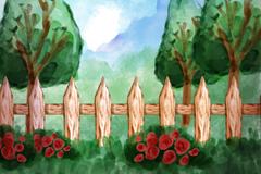 水彩绘花园树木风景矢量素材