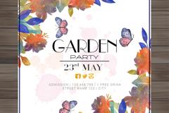 水彩花卉与蝴蝶装饰花园派对邀请卡矢量图