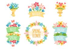 9款卡通春季花束与花环矢量图