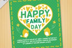 卡通鸟与爱心国际家庭日卡片矢量图