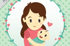 卡通母子母亲节贺卡矢量素材