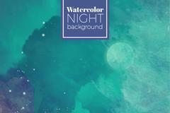 水彩绘蓝绿色梦幻夜空背景矢量素材