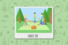 创意三口之家野餐照片矢量素材