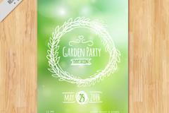 梦幻绿色花园派对邀请卡矢量图