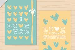 2款清新彩绘爱心卡片矢量素材
