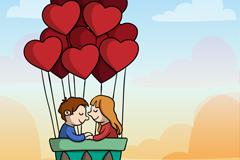 爱心热气球里的情侣矢量素材