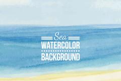 水彩绘蓝色大海与沙滩矢量素材