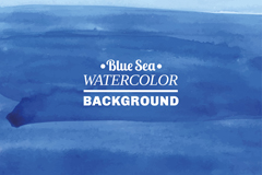 水彩绘蓝色海洋背景矢量素材