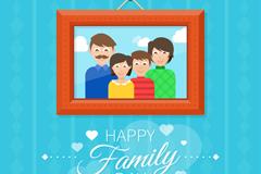 卡通四口之家相框和蓝墙背景矢量素材
