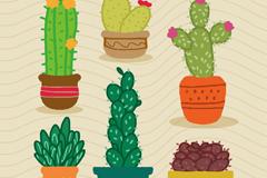 6款彩色多肉植物盆栽矢量素材