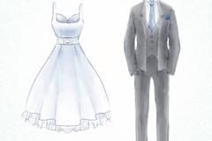 水彩绘婚纱和灰色礼服矢量素材