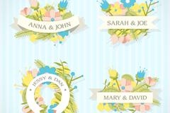 4款彩色婚礼花卉婚礼标签矢量素材