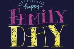 快乐国际家庭日艺术字矢量素材
