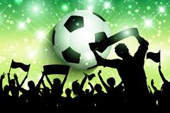 创意足球和欢呼的人群剪影矢量素材