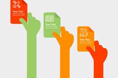 3个彩色举纸的手臂商务信息图矢