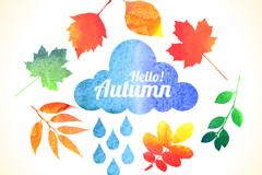 做旧秋季雨云和7种秋叶矢量素材